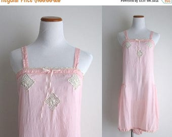 SALE 50% OFF 1920s Lingerie / Vintage 1920s Chemise / Pink Silk Step-in Teddy