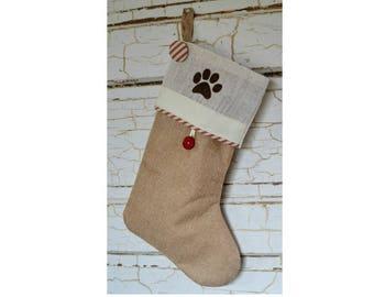 Burlap stockings, Pet Paw,Personalized Christmas stocking, farmhouse style stockings, rustic stocking Christmas, French country personalized