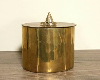 Vintage Brass Jar, Oval Trinket Box, Heavy Brass Container with Lid