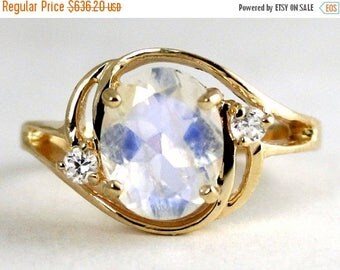 On Sale, 30% Off, Rainbow Moonstone, 14KY Gold Ring R021,