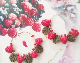 earrings raspberry polymer clay