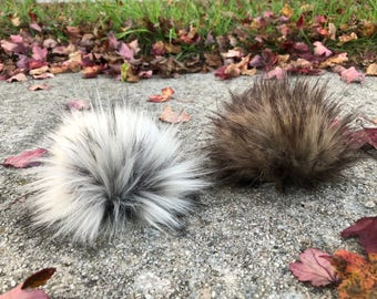 Mixed Set of Faux Fur Pom Poms - SET OF 4 - Pom Pom for Knit Hat - Hat Topper - Silver Grey - Silver Fox Fur- Brown - Wolf Fur Pom Poms