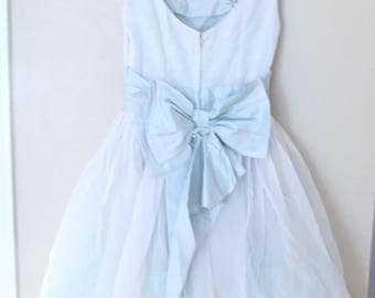vintage powder blue tulle applique taffeta bow tie layered prom dress