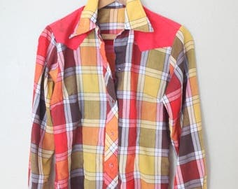 vintage red yellow embroidered plaid western cut pearl snap button up shirt
