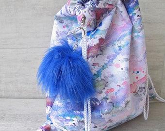 Colorful Drawstring backpack, waterproof beach backpack, handmade backpack/ Gym bag/ Summer bag ~ Rainbow