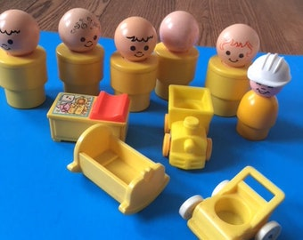 Fisher Price Little People 1975 Jumbo Men with Nursery Lot and Construction Worker