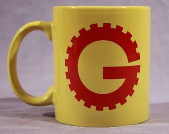 MST3K Gizmonic Institute Coffee Mug - Yellow Ceramic 11oz - Mystery Science Theater 3000 - Tom Servo Crow and Gypsy