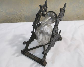 A Great Eastlake Cast Iron and Snail glass Inkwell and Pen holder Circa 1880!!