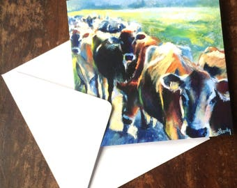 Back from the parlour. Greetings card from an original pastel of Jersey cows making their way back to the fields after milking.