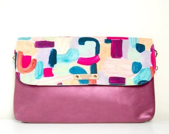 SALE - contemporary women's canvas and leather clutch/ leather clutch/ designer clutch - valentina - maxi