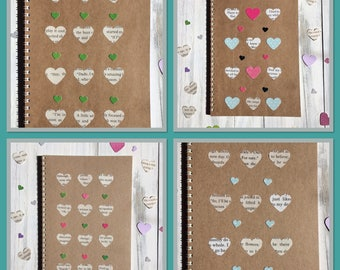 Set of 4 | HEART | Notebooks | Party Favours | Notepads | Back to School | Gift Idea | Office Journal | Exercise Books