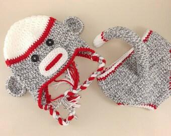 Baby Sock Monkey Costume - Sock Monkey Photo Prop - Sock Monkey Outfit - Sock Monkey Hat - Retro Baby Shower - Sock Monkey Gifts