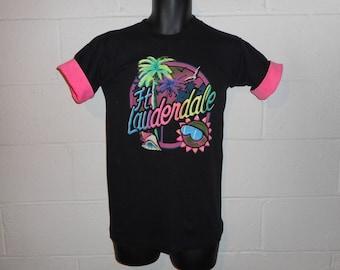 Vintage 80s 90s Neon Ft. Lauderdale Florida T-Shirt Small