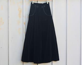 Black Velvet Maxi Skirt - 23 Inch Waist Skirt - Gothic Skirt - Lolita Skirt - Velveteen Swing Skirt - 80s Skirt - 1980s Skirt - 90s Grunge
