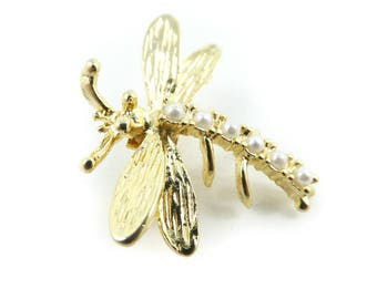 Vintage Dragonfly Brooch, Faux Pearls, Gold Tone, N52