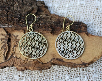 Flower Of Life Brass Earrings, Tribal Jewellery, Ethnique Earrings, Sacred Geometry Earrings, Boucles d'oreille Laiton, Fleur De Vie