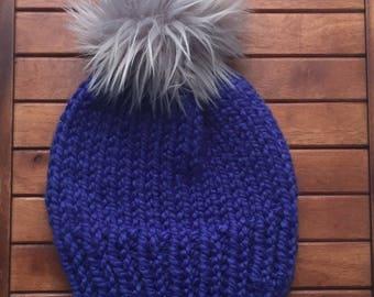 Handknit Winter Hat wirh Faux Fur Pom Pom | Cobalt Blue Okemo hat with Gray Faux Fur Pom Pom | Blue Beanie with Faux Fur Pom Pom