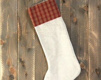 Primitive Christmas stocking-Primitive Christmas Decorations-Rustic Stocking