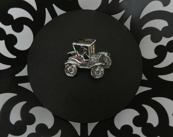 Vintage Gerry's Silver Tone Car Brooch Designer Jewelry