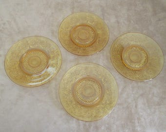 "Vintage Amber Indiana Glass Daisy 6"" Plates, Set of Four"