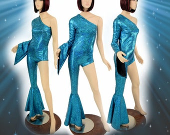 Bowie Inspired Turquoise on Black Shattered Glass One Right Shoulder Long Pixie Sleeve & One Right Leg Bell Bottom Catsuit - 155068