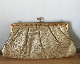SALE Gold Brocade Clutch with Blue Stones