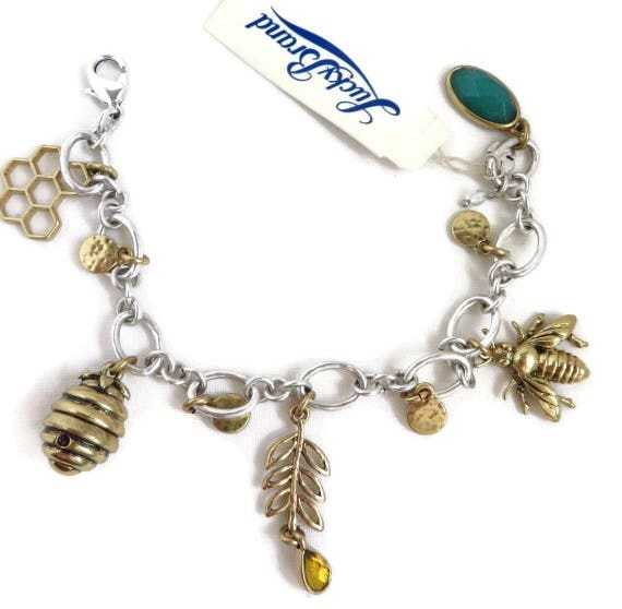 Charm Bracelet - Lucky Brand Bracelet, Bee, Honey, Hive, Honeycomb Charms Silver Tone Bracelet, Gift for Her, Gift Boxed