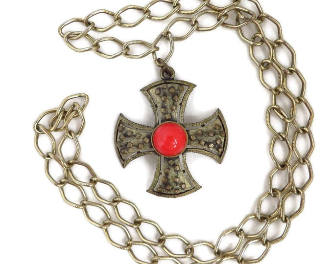 Vintage Cross Necklace - Maltese Cross Pendant, Gold Tone Chain Link Long Pendant Necklace, Gift idea, Gift Box