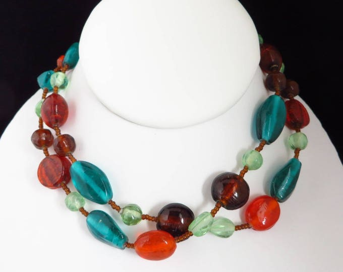Vintage Multicolor Beaded Necklace, Long Boho Bead Necklace