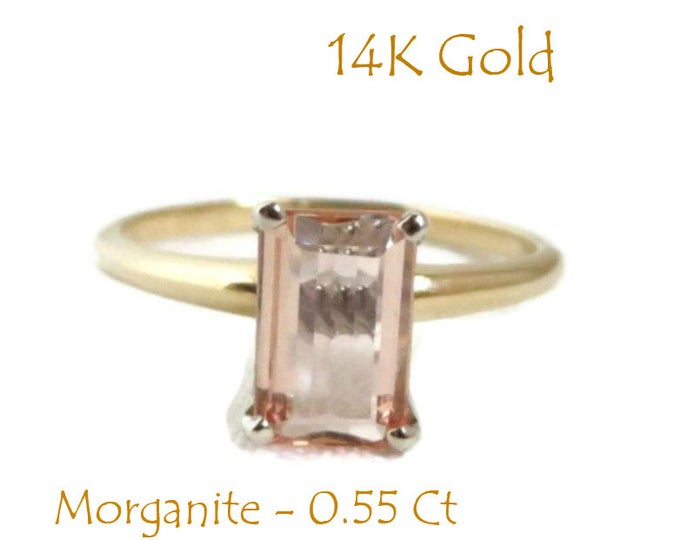 14K Gold Morganite Ring, Vintage Solitaire, Engagement Ring, Bridal Jewelry, Size 6