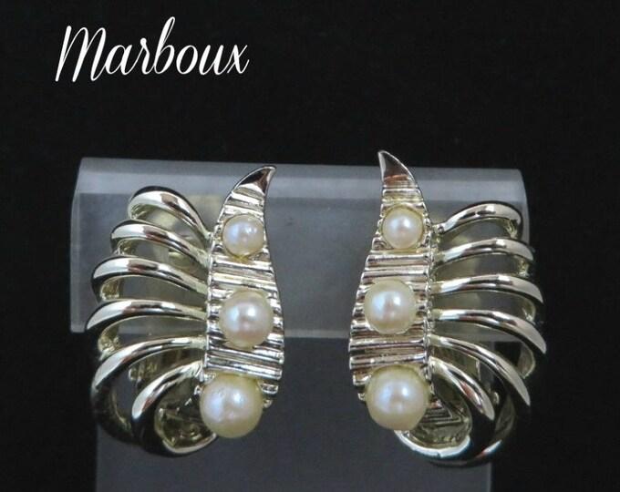 Vintage Marboux Earrings, Marcel Boucher Earrings, Goldtone Faux Pearl Earrings, Signed Designer Clip-on Earrings