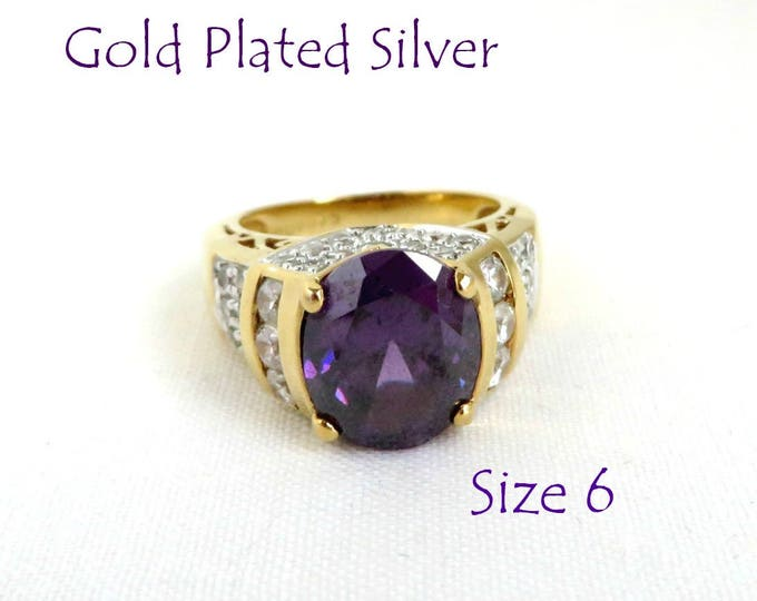 Amethyst CZ Ring - Vintage Gold Plated Sterling Silver Ring, February Birthday, Valentine's Day Gift Ring, Size 6