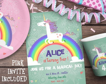 Unicorn Invitation, Unicorn Birthday Invitation, Unicorn Party Invitation INSTANT DOWNLOAD you personalize at home