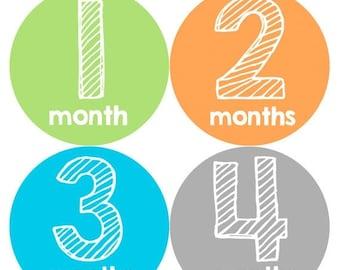 Monthly Baby Milestone Stickers Baby Boy Baby Shower Gift One-Piece Baby Stickers Monthly Baby Stickers Baby Month Sticker 143