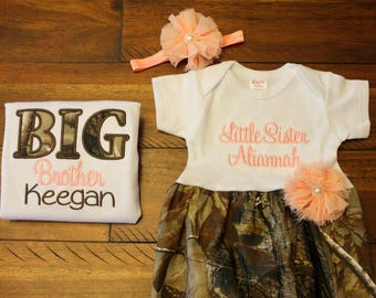 Big Brother Little Sister Set - Camo - Newborn Gown - Peach - Going Home Outfit - Baby Shower Gift