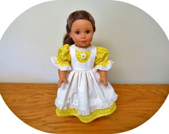 """18 inch Doll Clothes/American Doll Dress with Apron/Yellow Doll Dress/Girl Doll Dress/AG clothes/Summer outfit/Daisy Print/18"""" Doll Outfit"""