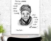 Feminist Art Poster Maya Angelou Quote Print portrait feminism activism shero shehero phenomenal woman still I rise fundamental rights