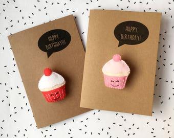 Happy Birthday Card - You're Sweet! - Cute Card - Felt Card - Greetings Card w/ Felt Cupcake Badge - Cake Brooch - Birthday Cake Pin