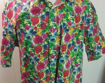 90s Tommy Hilfiger Shirt - Floral Print Button Down - Bright Colorful 1990s Vintage Shirts - Very Good Condition - Nineties Clothing Clothes