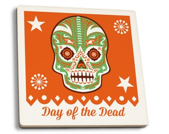 Day of the Dead - Sugar Skull Mask - LP Artwork (Set of 4 Ceramic Coasters)