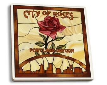 Portland OR Rose Skyline Stained Glass LP Artwork (Set of 4 Ceramic Coasters)