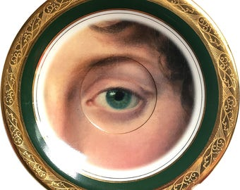 Lover's eye - Green - Vintage Porcelain Plate (*) - SALE  #0508