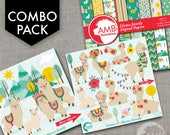 COMBO Llama Clipart and Digital Papers, Alpaca clipart and backgrounds, Cupcake Toppers, Paper Crafts, Commercial Use, AMB-1741