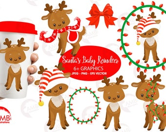 Christmas Clipart, Reindeer Clipart, Santa's Reindeer, Rudolph Clipart, Baby reindeer Clipart, Commercial Use, AMB-1558