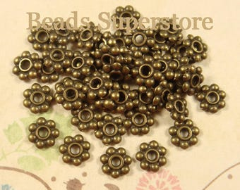 SALE 6 mm Antique Bronze Daisy Spacer - Nickel Free, Lead Free and Cadmium Free - 100 pcs (DS6AB)