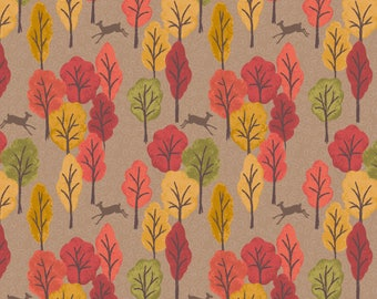 Autumn in Bluebell Wood A250-2 Leaping Deer Light Brown Lewis & Irene Patchwork Quilting Fabric