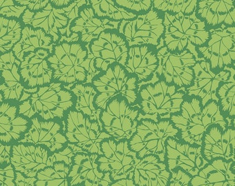 "Philip Jacobs ""Snow Leopard Designs"" English Garden Pelargonium Leaves PWSL059 Green Free Spirit Fabric"