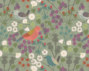 A251.2 - Hedgerow Birds On Sage Lewis & Irene Patchwork Quilting Dressmaking Fabric
