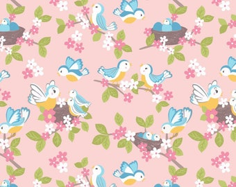 So Darling A288-2 Bluebirds on Rose Pink Lewis & Irene Patchwork Quilting Fabric