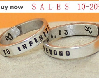 Set of Two Personalized Rings - To Infinity and Beyond Rings- Couple rings. Adjustable. Custom Silver rings.. Hand Stamped, Aluminum Rings..